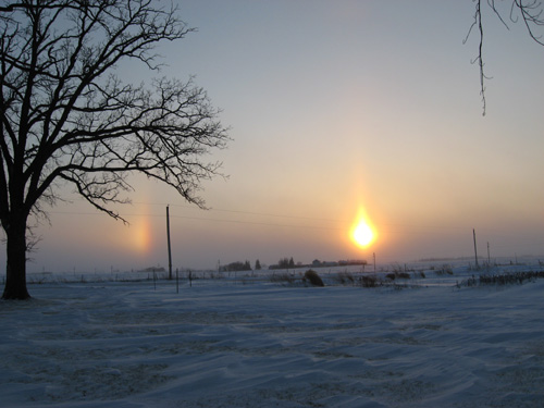 Sun dogs at sunset